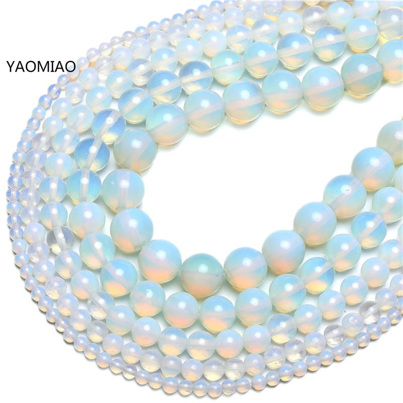 Natural Stone Opal Beads Opalite 4/6/8/10/12MM Fit Diy Make Up Charms Beading Beads For Jewelry Making Accessories Free Shipping(China)