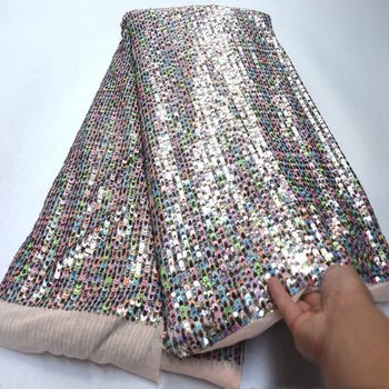 Sequined African French Mesh Net Lace Fabric For Wedding Party Dress Fabrics 2019 Latest Nigeria Sequins Voile DG365