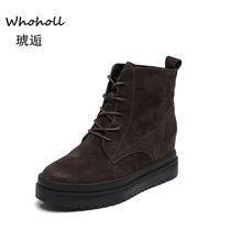 Whoholl Brand Classic Women Winter Boots Suede Ankle Snow Boots Female Warm Fur Plush Insole High Quality Botas Mujer Lace-Up 39 women boots high quality classic lace up women winter diamond thick soled boots ankle snow boots female warm fur plush insole