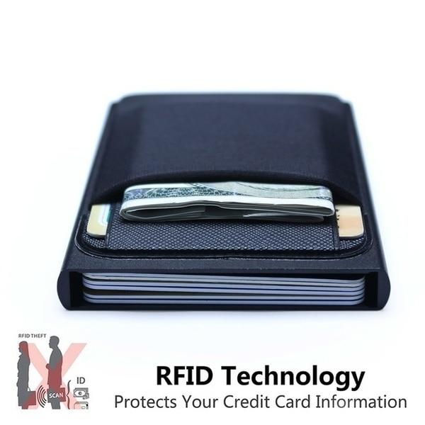Negócios de alumínio titular do cartão de identificação de dinheiro rfid bloqueando fino metal carteira carteira de moeda caso de cartão de crédito carteira rfid