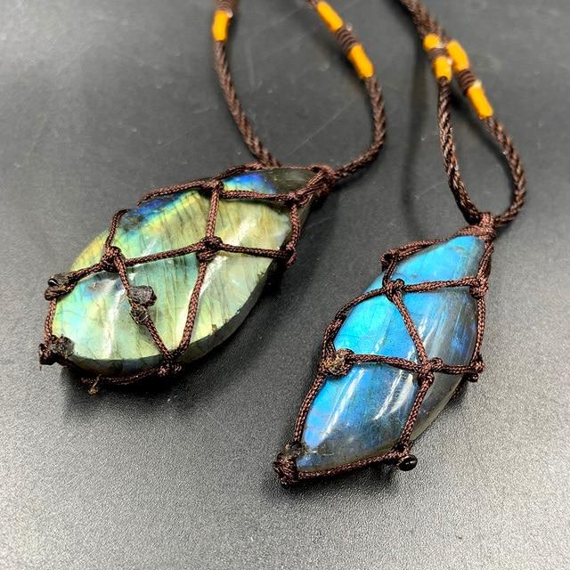 Natural crystal Labradorite stone gemstone pendant Moonstone Sunstone Pendant Divination spiritual meditation Jewelry Necklace 5
