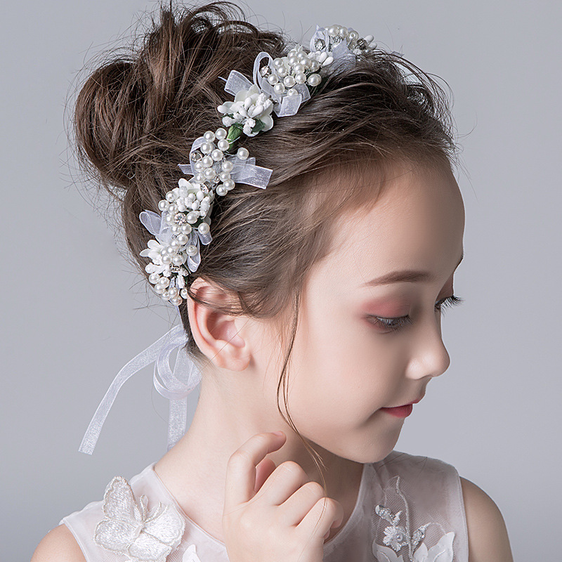 Garland Headdress Children Mori Female Korean Style White Flower Head Beautiful Handmade Wedding Flower Girl Wholesale