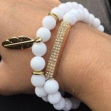 2Pcs/Set Lover Couple Charming Bracelet Sets Men Women Gold Color CZ Bar & Leaf Pendant White Stone Yogi Bracelet Sets Jewelry charming rhinestone leaf cross bracelet