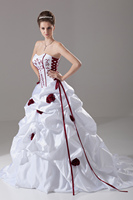 White Plus Size Wedding Dress Bridal Ball Gown Lace Up Back Burgundy Embroidery Custom Size Color