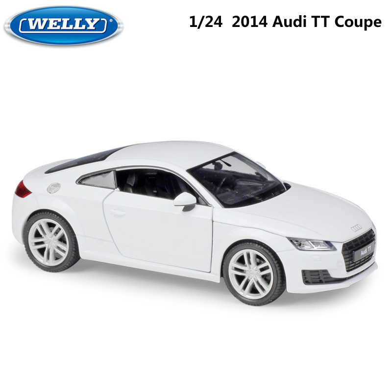 WELLY Diecast 1:24 Scale Simulator Model Car 2014 Audi TT Coupe Toy Vehicle Metal Alloy Toy Car For Boy Children Gift Collection
