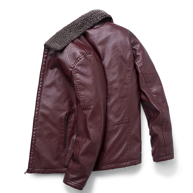 8XL Men's Leather Jacket 2019 Winter Warm Zipper Casual Men's Jacket Inner Velvet For Homme Clothes Coat Pure Color Leather Hot