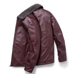 8XL męska skórzana kurtka 2019 Winter Warm Zipper Casual męska kurtka wewnętrzna aksamitna dla Homme ubrania płaszcz Pure Color skóra Hot