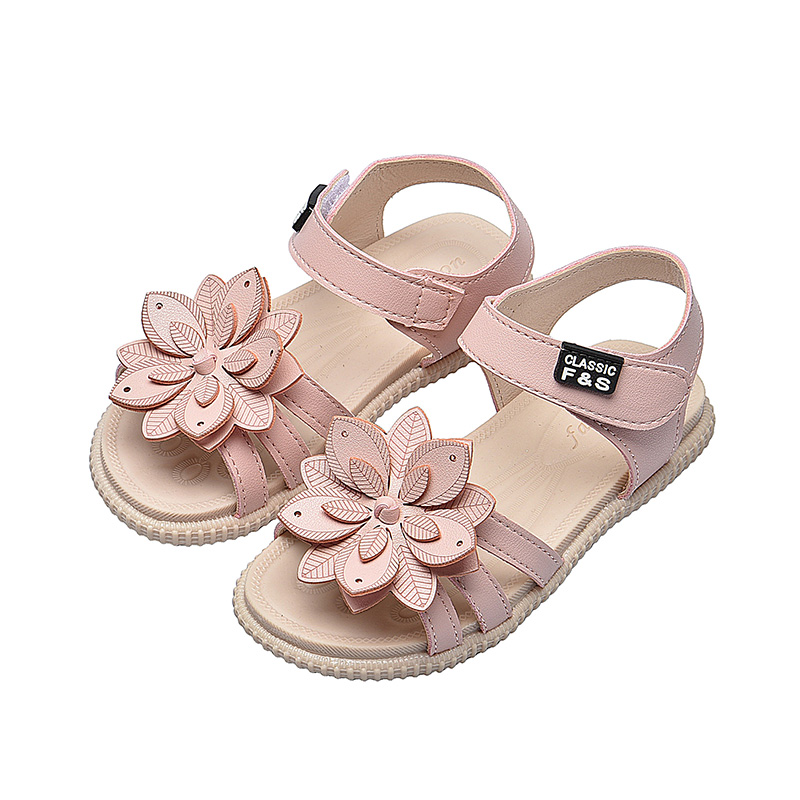 Kids Shoes For Girl Sandals Flower Solid Color Princess Shoes Summer Soft Bottom Children Baby Girl Shoes Beach Sandals SM055