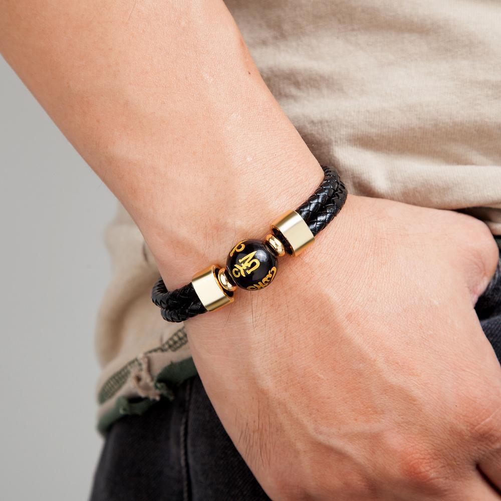 2020 New Design Men Leather Bracelets Charm Stainless steel Round Stone Beaded Bracelet Mens Jewelry Friends Gift Pulsera Hombre