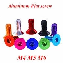 10 parafusos lisos de alumínio m4 m5 m6 flat hex soquete cabeça escareada parafusos cor anodizada