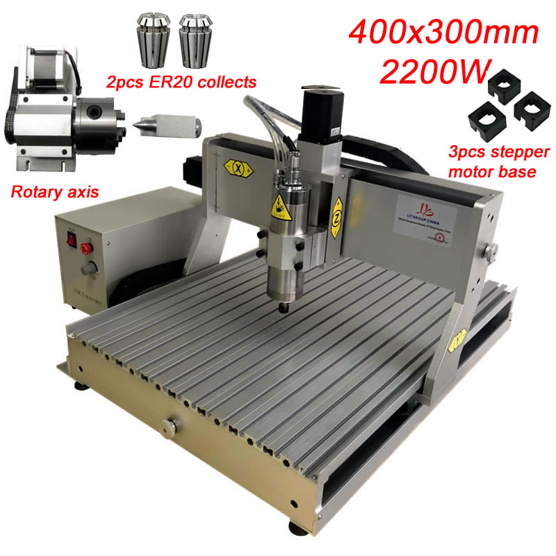 CNC 3040 2200W Milling Engraving Machine 4Axis USB Port Metal Engraver Wood Cutter Mach3 Controller With Free ER20 Collects