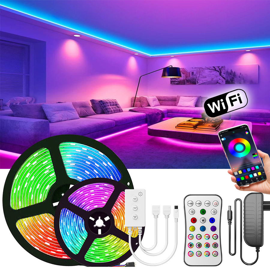 Permalink to 5050 LED Strip WiFi 5M-20M LED Light RGB Waterproof SMD 2835 DC12V rgb String Diode Flexible Ribbon WiFi Contoller+Adapter plug