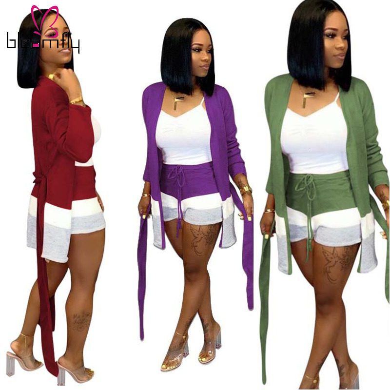 10 Colors Autumn Winter Two Piece Sets Women Knitted Outfits Patchwork Long Sleeve Sashes Cardigans And Shorts Matching Sets