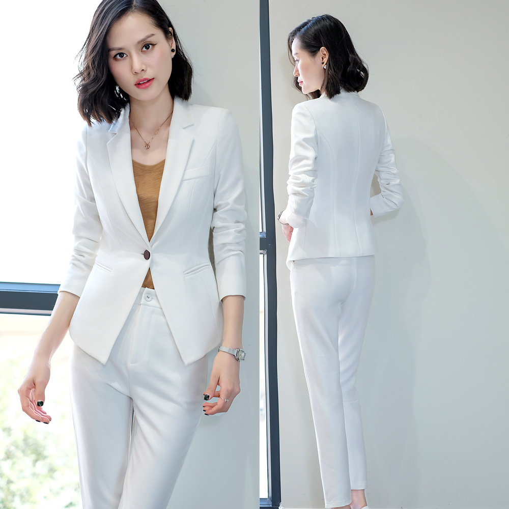 Women's Suit 2019 Autumn New Casual Fashion Temperament Solid Color Slim Single Buckle Small Suit Trousers Two-piece