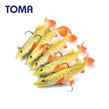 TOMA 5 unids/lote suave cebo cabeza de pez Señuelos de Pesca 14g suave Artificial atraer T cola con 2 ganchos bajo cebo de pesca