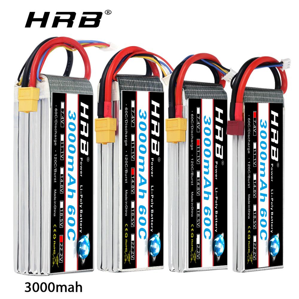 HRB <font><b>Lipo</b></font> Battery 3S 4S <font><b>3000mah</b></font> 7.4v 11.1v 14.8v 18.5v 22.2v 60C with T plug For 450 500e Drone TRXx Slash 4x4 Airplane Car Boat image