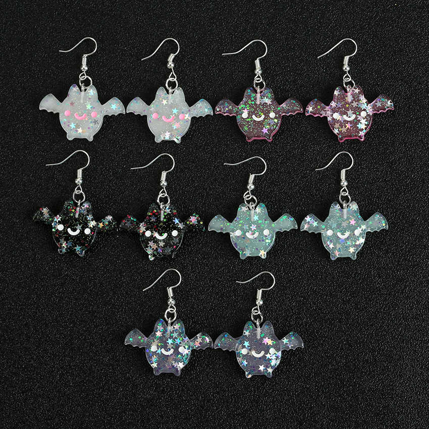 1pair Glitter Cartoon Bat-shape  Drop Earrings  Flatback Resin Animal Dangle Earrings for women  Birthday Gifts  Jewelry
