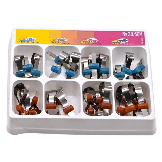 32 szt. Dodatkowe metalowe opaski dentystyczne uniwersalne Supermat Automatrix wykonane w rosyjskiej matrycy dentystycznej do wymiany zębów