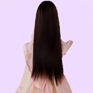 Image 2 - Allaosify Bjd Wig 1 PCs Long Straight Hair 1/3 1/4 1/6 1/8 Bjd Doll Wig Black Bangs Free Shipping