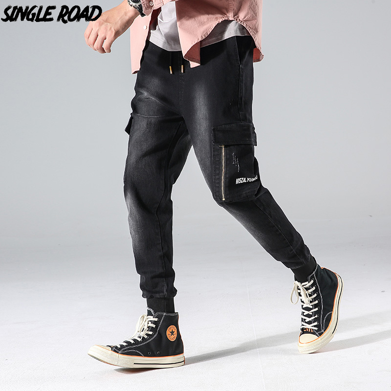 SingleRoad Jeans Men Loose Streetwear 2019 Side Pockets Hip Hop Print High Quality Black Casual Denim Pants Male Jeans For Men
