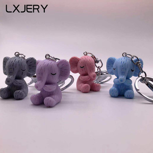 LXJERY 4 Colors Cute Cartoon Elephant Keychain Lovely Key Chain For Women Bag Charm Pendant Key Ring Gifts Jewelry