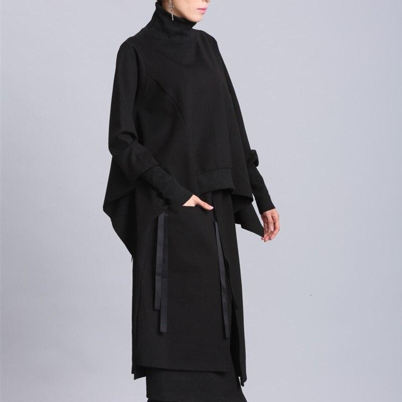 H3594cd27c6fc4965a7b6a6af7a44ff3aO [EAM] 2019 New Spring Black Full Batwing Sleeve Turtleneck Collar Pullover Loose Irregular Women Fashion Tide Coat OA869