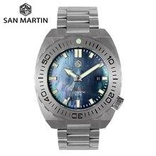 San Martin Reloj de buceo para hombre, relojes mecánicos automáticos, zafiro, resistente al agua, 500m, luminoso, acero inoxidable, edición limitada