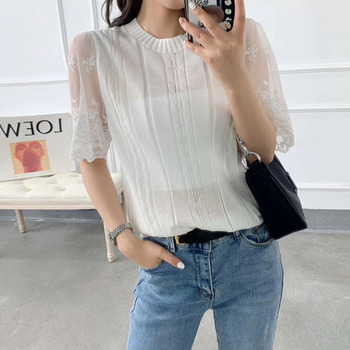 2020 Knitwear T-shirt Tops Lace Sleeve Patchwork Thin Knitted Short Sleeves Shirts Round Neck Mesh Pullover Knitting Sweater black lace details stitching design round neck long sleeves t shirt