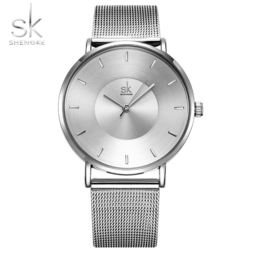 Shengke Silver 18mm Mesh Strap Women Watches 2017 Ladies Wristwatch Ultra Thin Quartz Watch Woman Ladies Watch Relogio Feminino