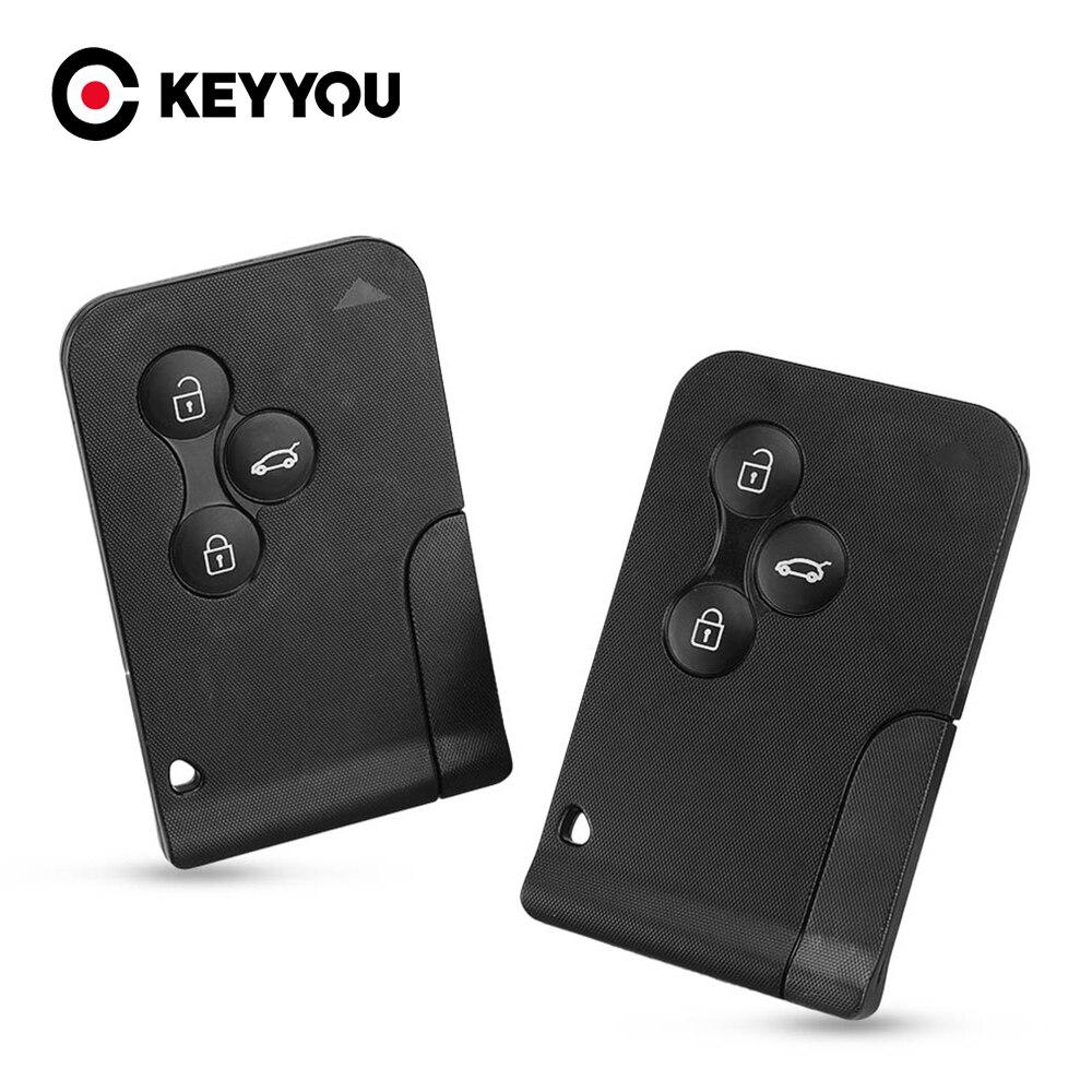Keyyou capa de chave inteligente para renault, substituição de cartão com 3 botões para renault clio logan megane 2 3 koleos, capa de chave remota com pequena chave