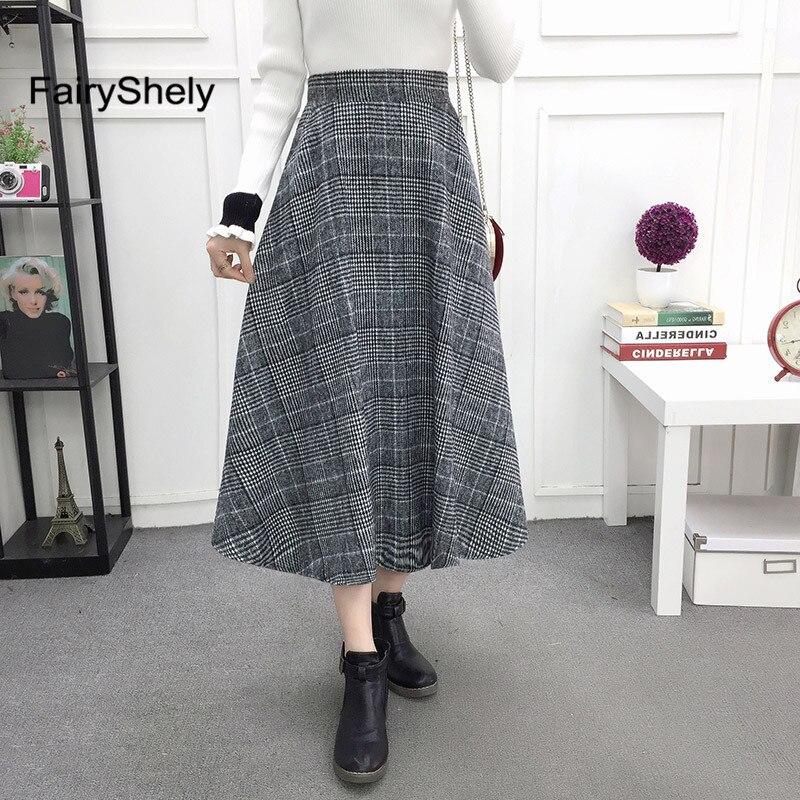 2019 Autumn Winter High Waist Umbrella Skirt A Word Skirt Wild Waist Woolen Female Flared New Poncho Skirt Plaid Long Skirt