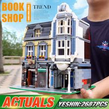 Bloques de construcción City Streetview para niños, modelo de tienda de libros Compatible con MOC-18923 librería europea, regalos de cumpleaños DIY, 0925