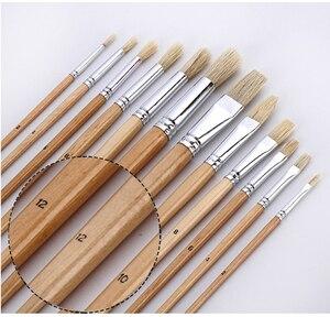 Image 4 - 38 pcs צבע מברשת סט עם בד תיק עץ ידית אמנותי מברשות אמנות אספקת עבור שמן אקריליק צבעי מים ציור ציור