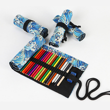 Canvas 72 Holes Pencil Case School Supplies Art Pen Bag Pouch Student Pen Wrap Roll Makeup Cosmetic Brush Pen Storage Stationery