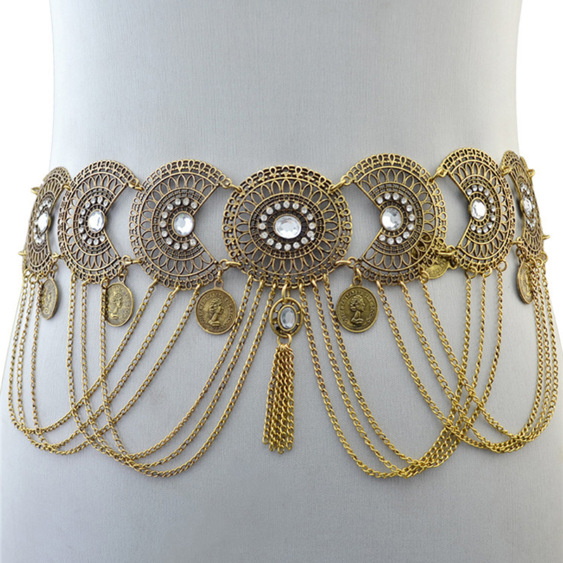 Sexy Hollow Out Waist Chains Crystal Indian Yoga Belly Belt Chains Gypsy Women Retro Tassel Coins Pendant Waist Belt
