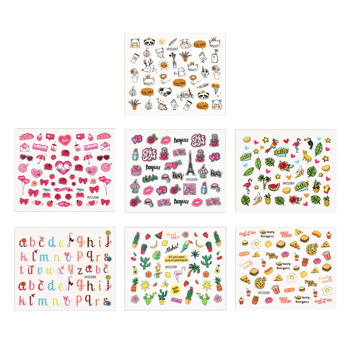1pcs 여름 Partten 네일 아트 스티커 물 Decals 사랑스러운 개 고양이 과일 만화 음식 네일 문신 장식에 대 한 슬라이더를 래핑