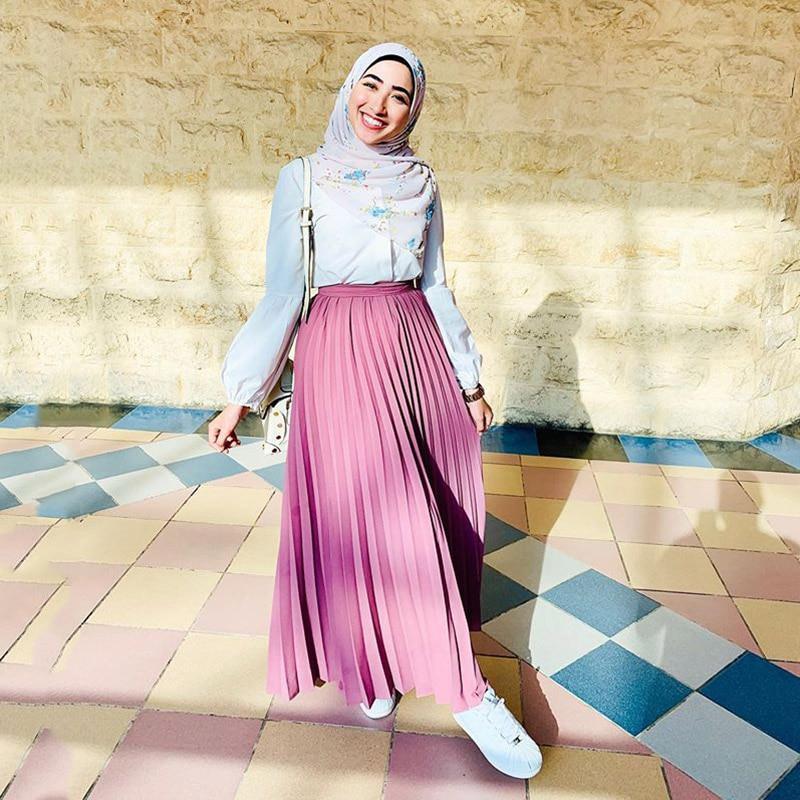 Middle Eastern Fashion Bust Skirt Pleated Skirt Muslim Saudi Arabia UAE United Dubai Travel Solid Color Bottom Dress Skirt