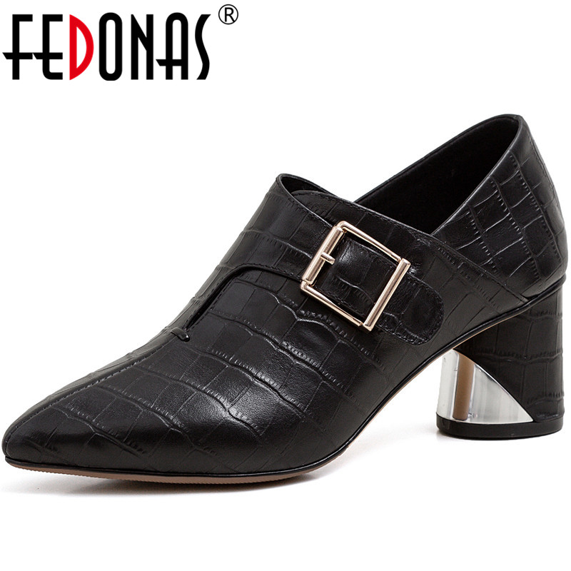 FEDONAS New Women Point Toe Party Pumps Spring Summer Thick Heel Metal Decoration Shoes Patent Leather Fashion Shoes Woman