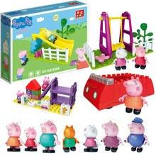 Genuine peppa pig família brinquedo boneca slide balanço carro vermelho playhouse com george rebecca suzy figura crianças aniversário brinquedo de natal