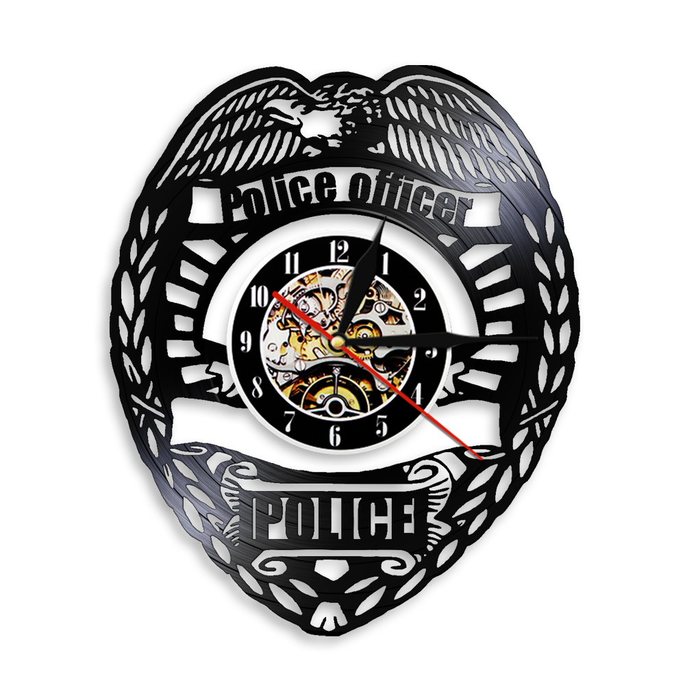 Police Officer Logo Wall Watch Police Badge Vinyl Record Wall Clock Police Station Decor Wall Light Policemen Retirement Gift