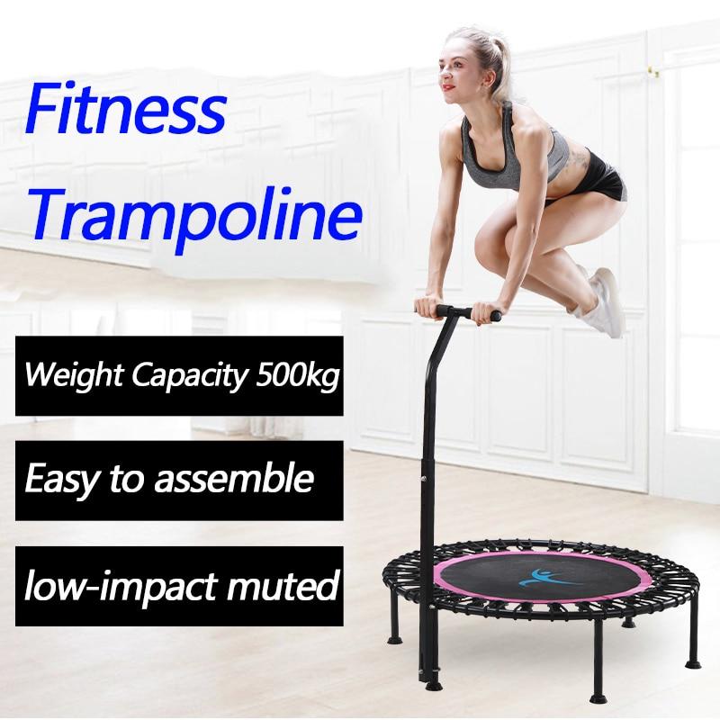 """36/"""" Gym Mini Fitness Trampoline Jump Training Rebounder Handlebar Steel Frame"""