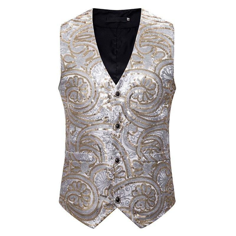 Shiny Silver Sequin Suit Vest Men Slim Fit Single Breasted Vest Waistcoat Men Party Wedding Prom Tuxedo Vest Gilet Homme Costume