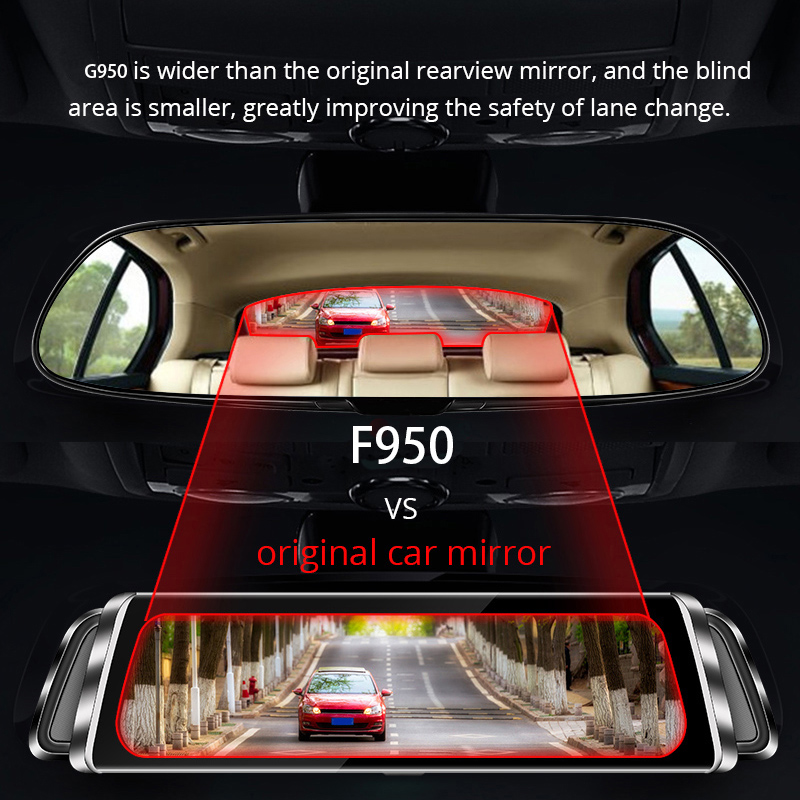 10in 1080P Car DVR Recorder Dash Cam Double Lens Streaming Media Rearview Mirror Driving Recorder GK99