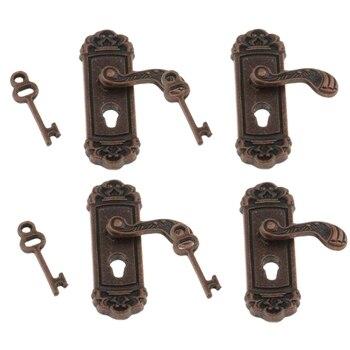 85mm central distance door handle lock with 70mm key lock 4Pcs Doll House Door Lock 1:12 Alloy Retro House Miniature Door Lock Doll House Furniture Accessories Right Handle Door Lock Key
