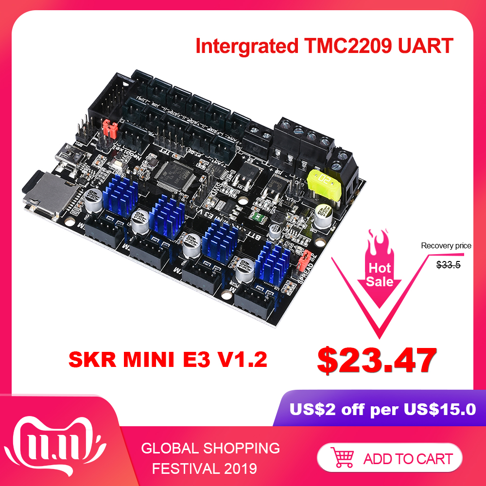 BIGTREETECH SKR mini E3 V1.2 Control Board 32Bit Mit TMC2209 UART Fahrer 3D Drucker teile skr v1.3 E3 Dip Für creality Ender 3