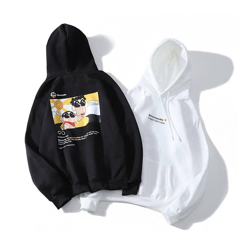 Funny Cute Crayon Shin Chan Printed Men Hooded Hoodie Sweatshirt Fashion Kawaii Graphic Hoodie Casual Streetwear Pullover Hoodie