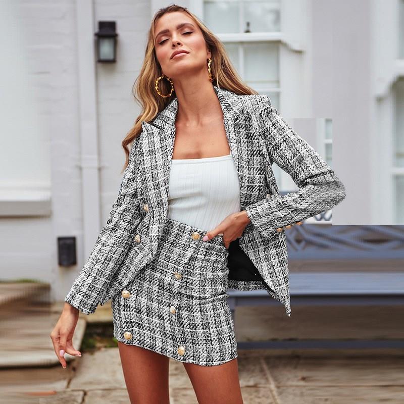 Tweed Plaid Two-Pieces Women Skirt Suit Casual Streetwear Suits High Street Female Blazer Chic Office Ladies Women Blazer Sets