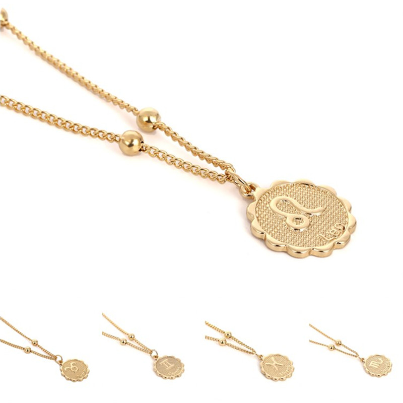 12 Constellations Embossment Pendant Necklace Copper Zodiac Sign Chain Necklace Gold Silver Color Horoscope Women Jewelry Gift(China)