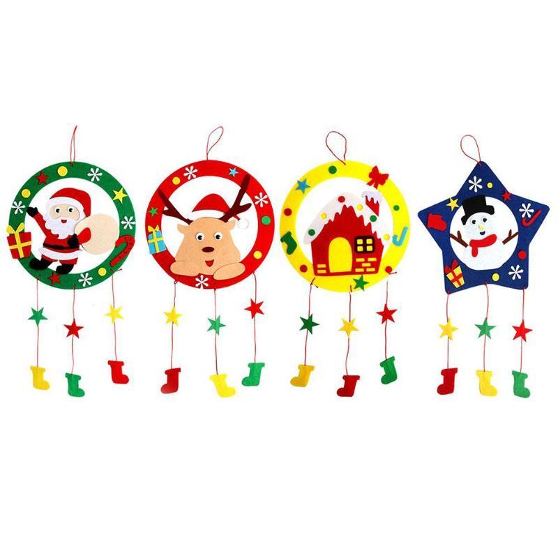 Kindergarten Child DIY Xmas Garland Cloth Art Wreath For Home Party Decor Random Improve Brain Thinking Cerebellar Balance