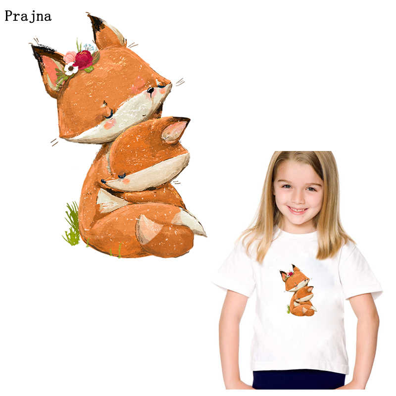 Prajña Mooie Fox Stickers Patches Ijzer Op Transfers Voor Baby Kids T-shirt Hoodies Applique Stickers Voor Kleding Decoratie Diy